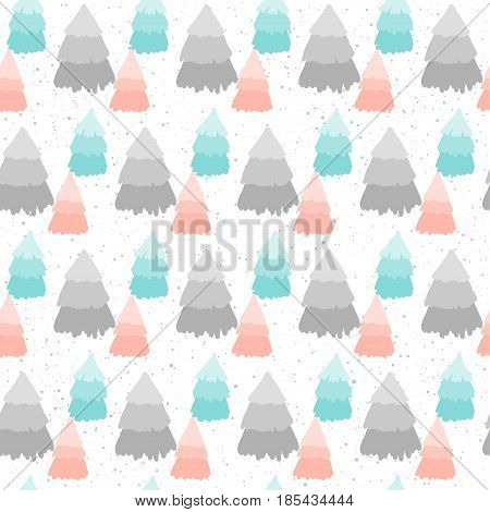Winter Time Seamless Pattern Background. Hand Drawn Spruce