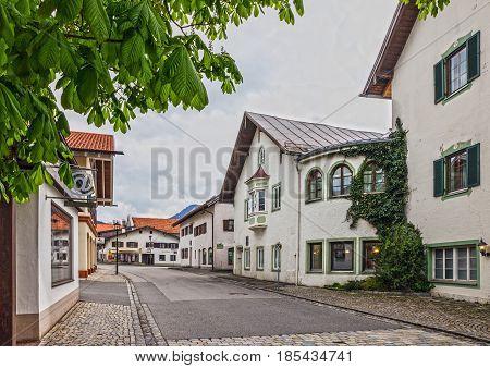 Bavaria, Germany - May 7, 2017: Painting houses in village Oberammergau, Bavaria, Germany
