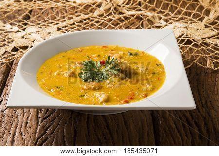 Shrimp Bobo - A Brazilian Dish Of Shrimp In A Pure Of Manioc Meal And Coconut Milk. Bobo De Camarao.