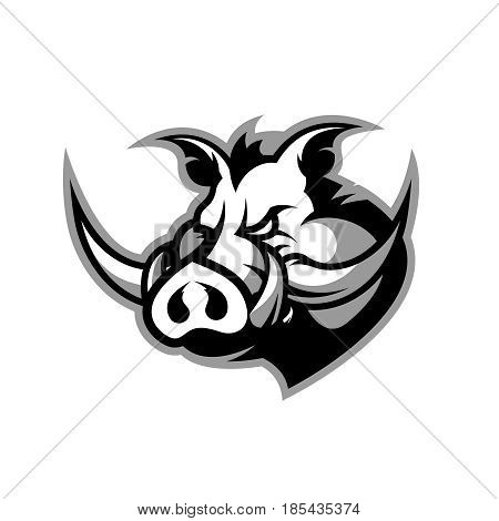 Furious boar head sport club vector logo concept isolated on white background. Modern professional mascot team badge design.Premium quality wild animal t-shirt tee print illustration.