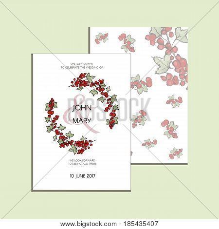 Invitation with graphic leaves and redcurrants. Used for wedding invitation, greeting cards