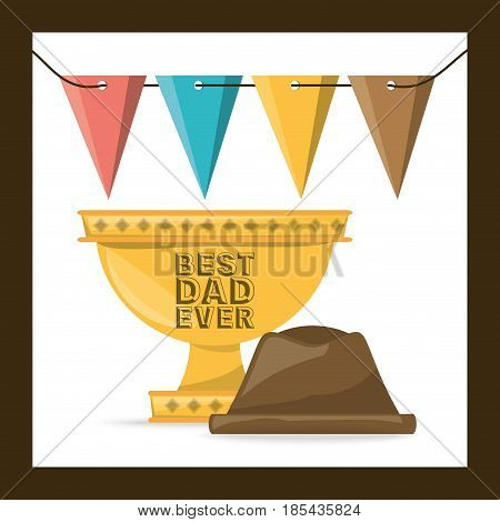 cup prize and hat to celeration fathers day, vector illustration