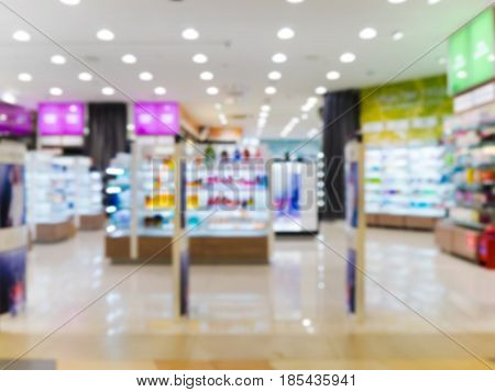 Abstract blurred entrance area of beauty store as background