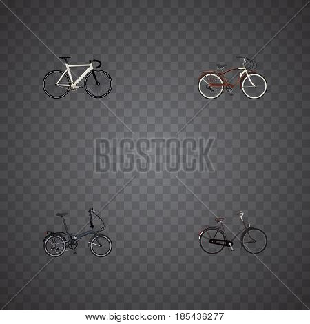 Realistic Training Vehicle, Road Velocity, Folding Sport-Cycle And Other Vector Elements. Set Of Lifestyle Realistic Symbols Also Includes Velocipede, Bicycle, Dutch Objects.