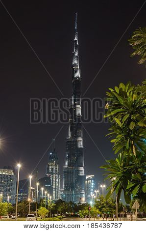 DUBAI UNITED ARAB EMIRATES - APRIL 13 2017: Burj tower. This skyscraper is the tallest man-made structure in the world measuring 828 m.
