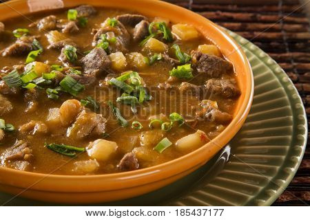 Rustic Stew meat with maniocs. Delicious meal.