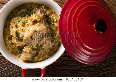 Brazilian Dish Canjiquinha Or Pela Egua In Red Bowl.