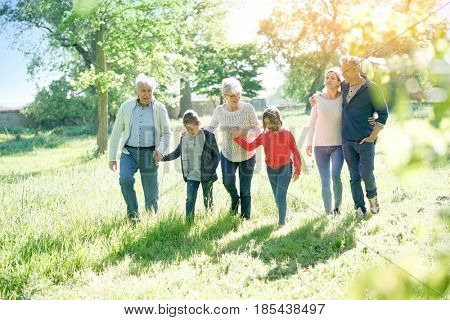 Happy family of 6 walking in park