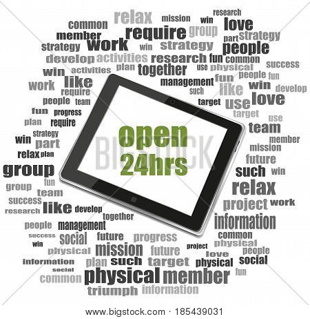 Security Concept. Open 24 Hours . Tablet Pc. Word Cloud Collage