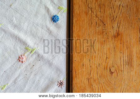 Embroidery On White Sheet And Table