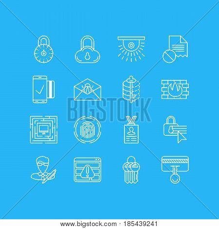 Vector Illustration Of 16 Privacy Icons. Editable Pack Of Key Collection, Encoder, Browser Warning And Other Elements.
