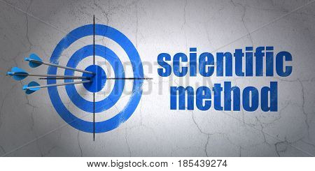 Success Science concept: arrows hitting the center of target, Blue Scientific Method on wall background, 3D rendering