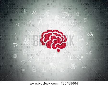 Science concept: Painted red Brain icon on Digital Data Paper background with  Hand Drawn Science Icons