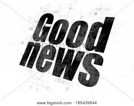 News concept: Pixelated black text Good News on Digital background