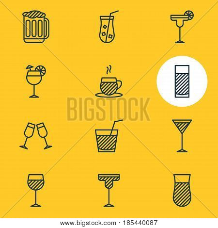 Vector Illustration Of 12 Beverage Icons. Editable Pack Of Beverage, Margarita, Celebrate And Other Elements.