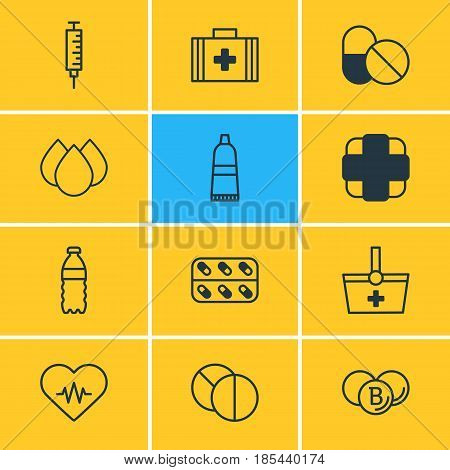 Vector Illustration Of 12 Medical Icons. Editable Pack Of Pharmaceutical, Heart Rhythm, Medicine And Other Elements.