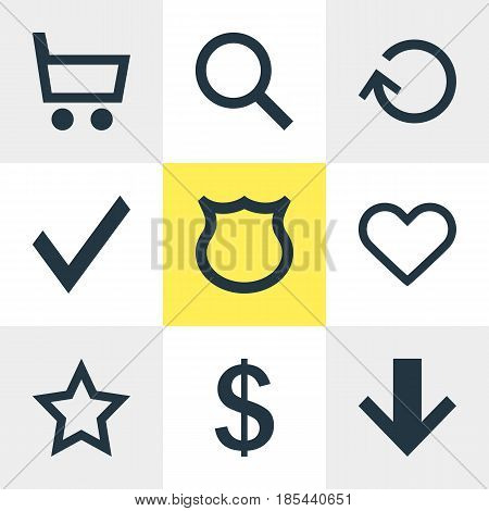 Vector Illustration Of 9 Interface Icons. Editable Pack Of Conservation, Downward, Money Making And Other Elements.