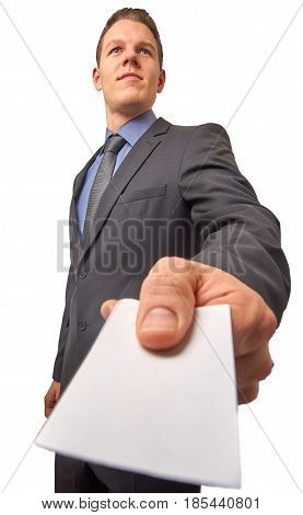 Isolated business man submits a calling card. With copyspace on the card.