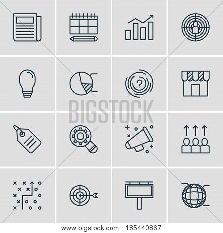 Vector Illustration Of 16 Social Icons. Editable Pack Of Maze, Schedule, Aiming And Other Elements.