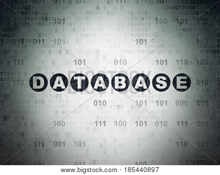 Programming concept: Painted black text Database on Digital Data Paper background with Binary Code