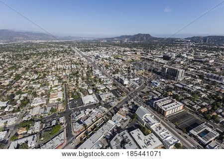 Los Angeles, California, USA - April 12, 2017:  Aerial view of Lankershim Bl and North Hollywood in the San Fernando Valley.