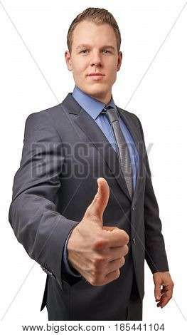 Isolated young attractive successful smiling businessman with thumb up.Business concept for advertisement