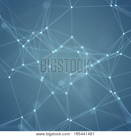 illustration of line connection between abstract dots on the blue background.