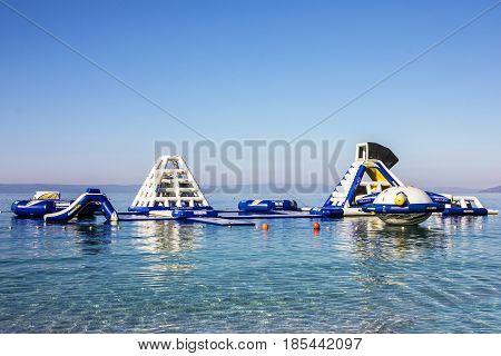 Makarska, Croatia - Aug 6, 2016: Aquapark in Croatian Adriatic resort Makarska