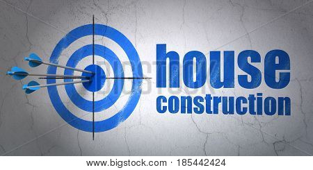 Success construction concept: arrows hitting the center of target, Blue House Construction on wall background, 3D rendering