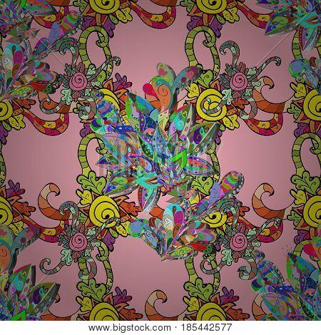 Vintage Invitation or wedding card with mandala pattern and elegant floral elements. Vector template greeting card invitation and advertising banner brochure on a pink background.