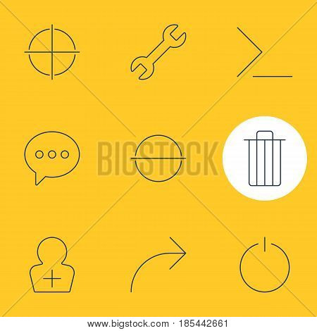 Vector Illustration Of 9 User Interface Icons. Editable Pack Of Positive, Share, Register Account And Other Elements.