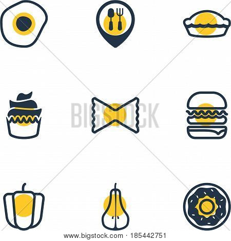 Vector Illustration Of 9 Meal Icons. Editable Pack Of Flan, Dessert, Farfalle And Other Elements.