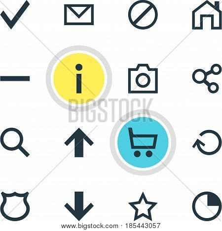 Vector Illustration Of 16 User Icons. Editable Pack Of Info, Snapshot, Wheelbarrow And Other Elements.