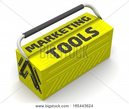 Marketing tools. Closed yellow tool box on a white surface with text