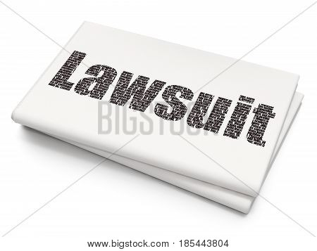 Law concept: Pixelated black text Lawsuit on Blank Newspaper background, 3D rendering