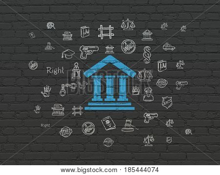 Law concept: Painted blue Courthouse icon on Black Brick wall background with  Hand Drawn Law Icons