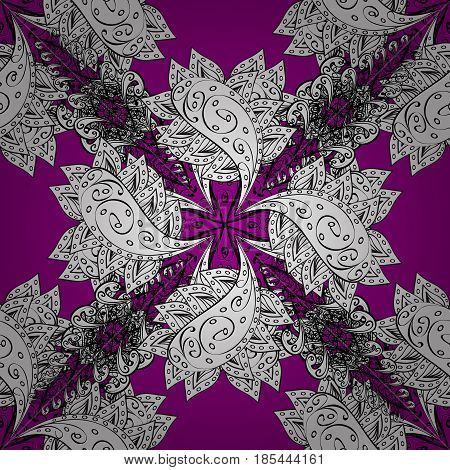 Vector doodle sketch pattern graphic illustration. Abstract geometric floral seamless background. Tribal ethnic ornate decoration lace repeating texture. Magenta background. Magenta seamless pattern
