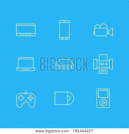 Vector Illustration Of 9 Accessory Icons. Editable Pack Of Joypad, Camcorder, Memory Storage And Other Elements.
