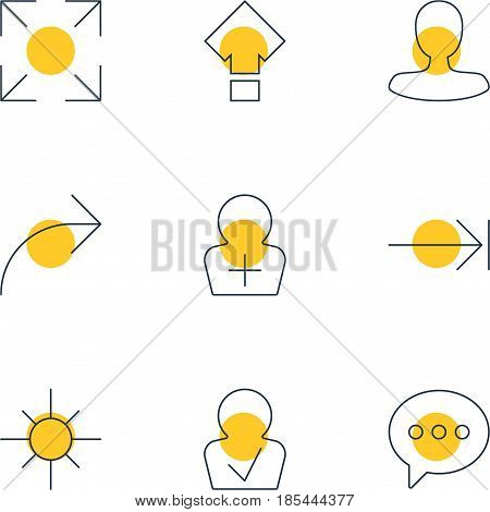Vector Illustration Of 9 Interface Icons. Editable Pack Of Wide Monitor, Approved Profile, Message And Other Elements.