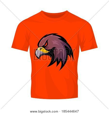 Furious eagle head sport vector logo concept isolated on orange t-shirt mockup. Modern professional team mascot badge design.Premium quality wild bird t-shirt tee print illustration.