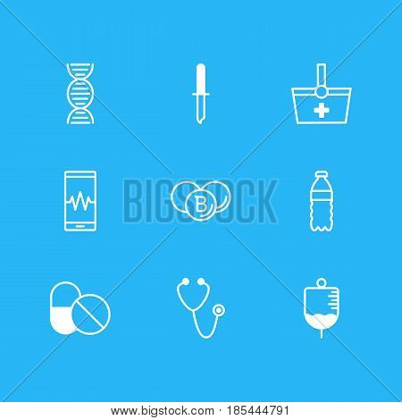 Vector Illustration Of 9 Medicine Icons. Editable Pack Of Phone Monitor, Painkiller, Pulse And Other Elements.