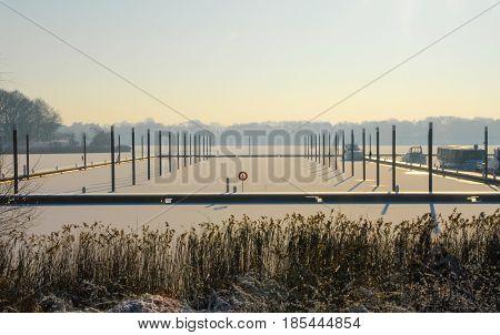 Frozen harbor port sea sunset sunrise winter snow