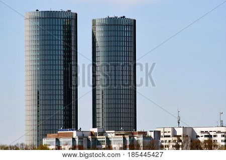 Riga Latvia - May 04 2017: Modern glass skyscrapers. Two round residential Z-Towers in the city center. Riga Latvia