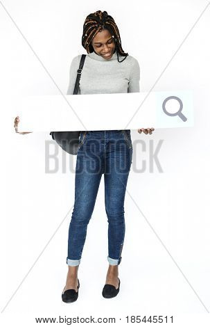 Young Woman Hands Holding Magnifying Glass Search Box