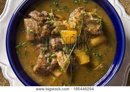Rustic Stew Meat With Manioc Called Vaca Atolada In Brazil.