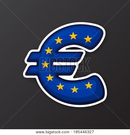 Vector illustration. Euro sign in flag colors of European Union. Symbol of world currencies. Sticker in cartoon style with contour. Decoration for patches, prints for clothes, badges, posters, emblems