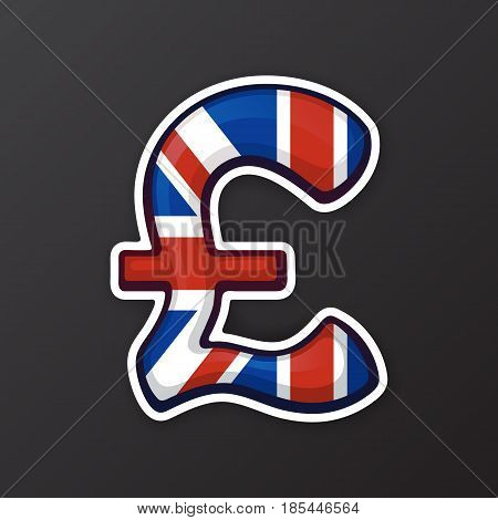 Vector illustration. Pound sign in national flag colors. Symbol of world currencies. Sticker in cartoon style with contour. Decoration for patches, prints for clothes, badges, posters, emblems