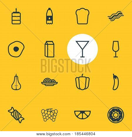 Vector Illustration Of 16 Cuisine Icons. Editable Pack Of Candy, Duchess , Pasta Elements.