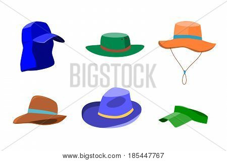 Set of summer hats for men and women isolated on white background. Flat style icons of sun hats. Vector illustration in eps8 format.