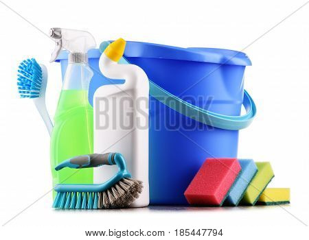 Chemical cleaning supplies isolated on white background